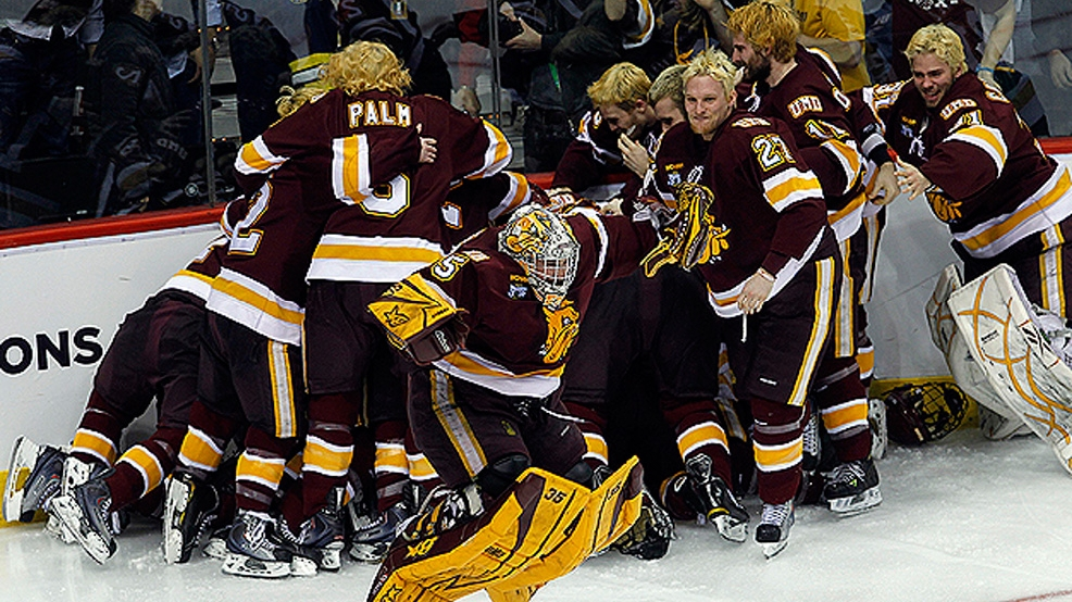 Minnesota Duluth celebrates a 3-2 overtime victory against Michigan to win the 2011 NCAA Hockey Tournament. (Courtesy UMD Athletics)