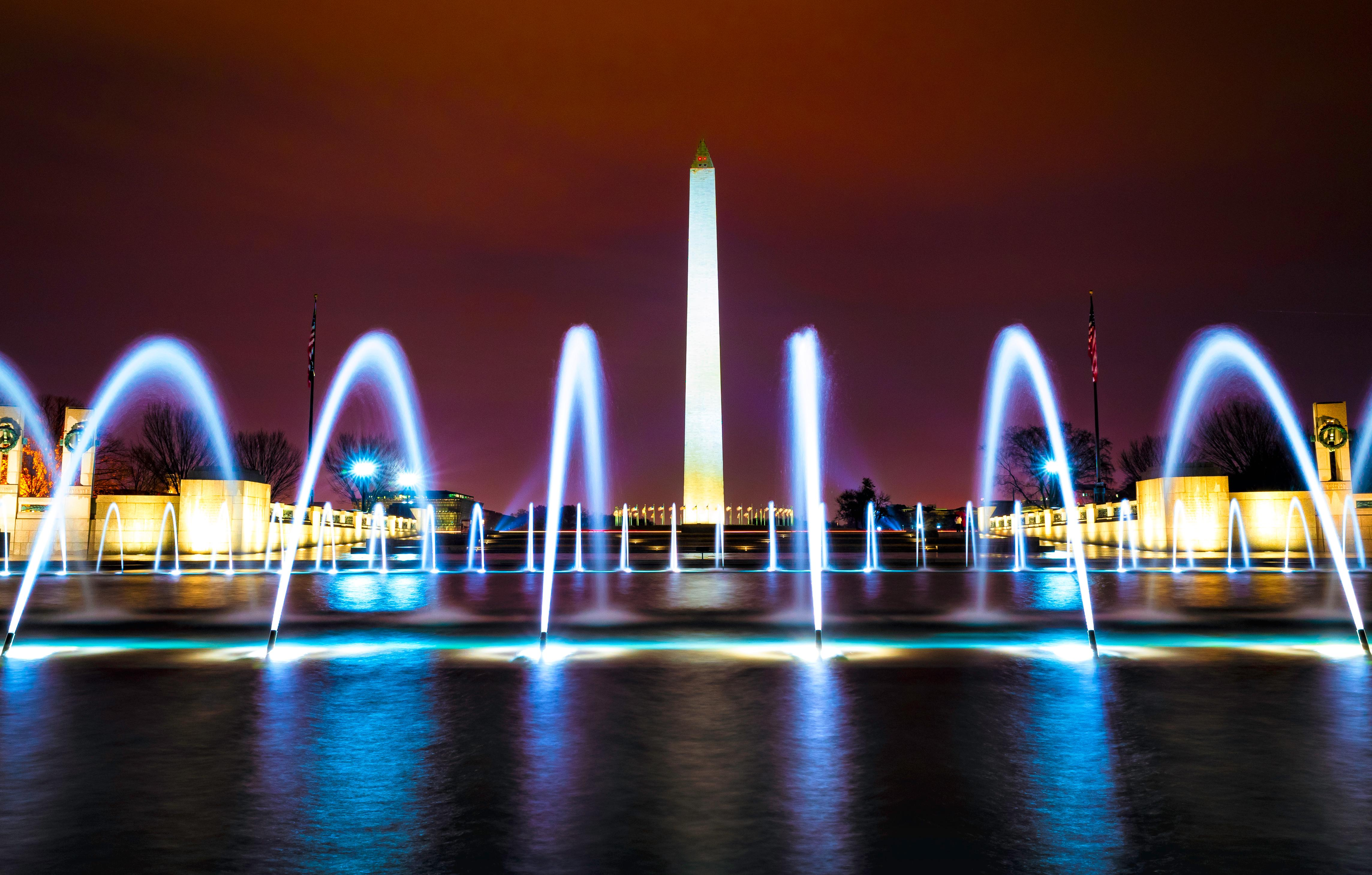 Long exposure shot of the fountains at the WWII memorial with the Washington Monument in the background. Taken December, 2017. (Image: Adam Brockett){ }