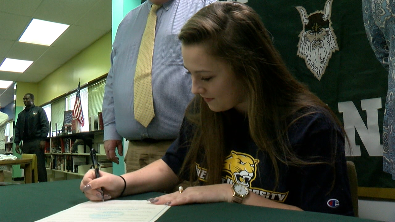 Baily Blake hopes to continue to impress at the college level just like she did at Kinston High School. (Brian North, NewsChannel 12 photo)<p></p>