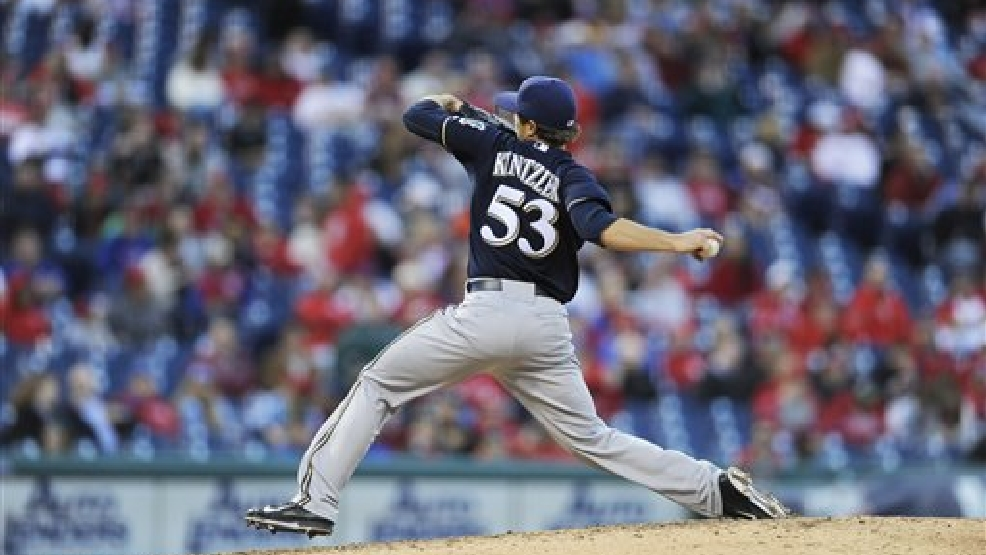 Milwaukee Brewers relief pitcher Brandon Kintzler (53) is seen during an baseball game against the Philadelphia Phillies on Tuesday, April 8, 2014, in Philadelphia. The Brewers won 10-4. (AP Photo/Michael Perez)
