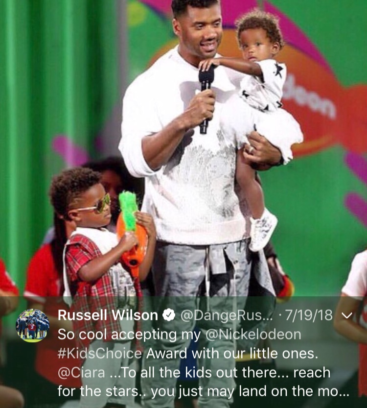 That one time he showed off his kids to the world...Happy 30th birthday, Russell! (Image: @dangerusswilson / twitter.com/dangerusswilson)