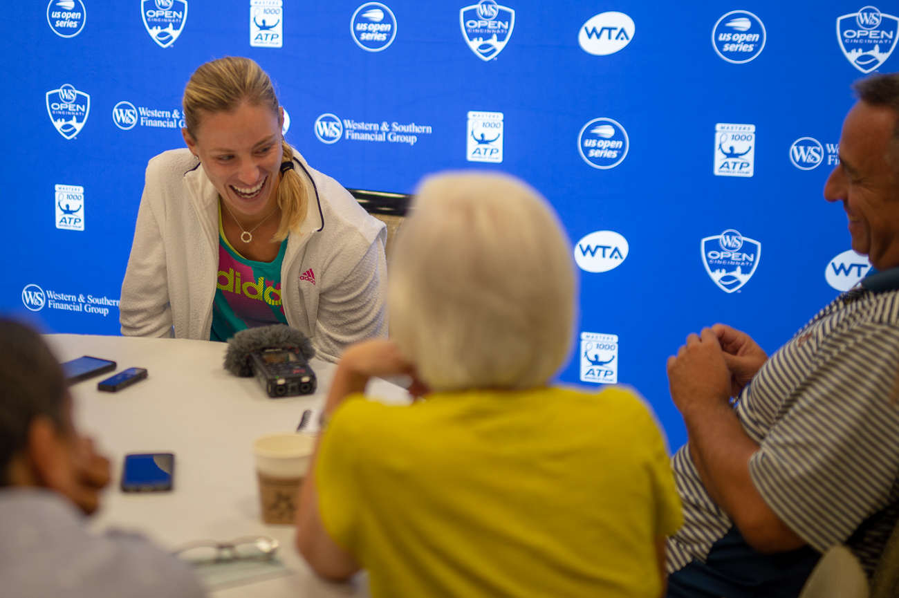 Angelique Kerber talking to the press for media day.{ }/ Image: Chris Jenco // Published: 8.14.18
