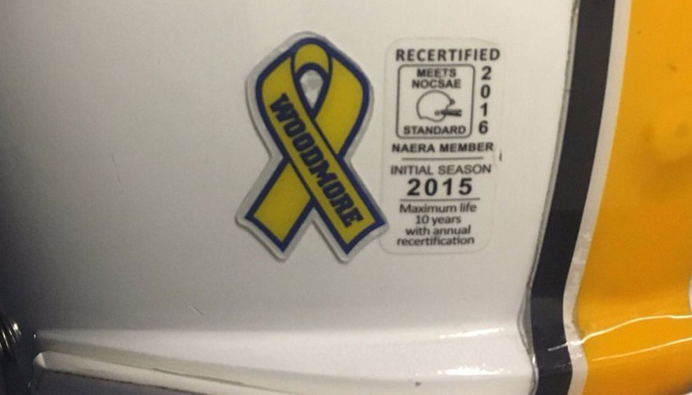 Chattanooga helmets honoring the victims of the elementary school bus crash. (Courtesy UTC Football via Twitter)