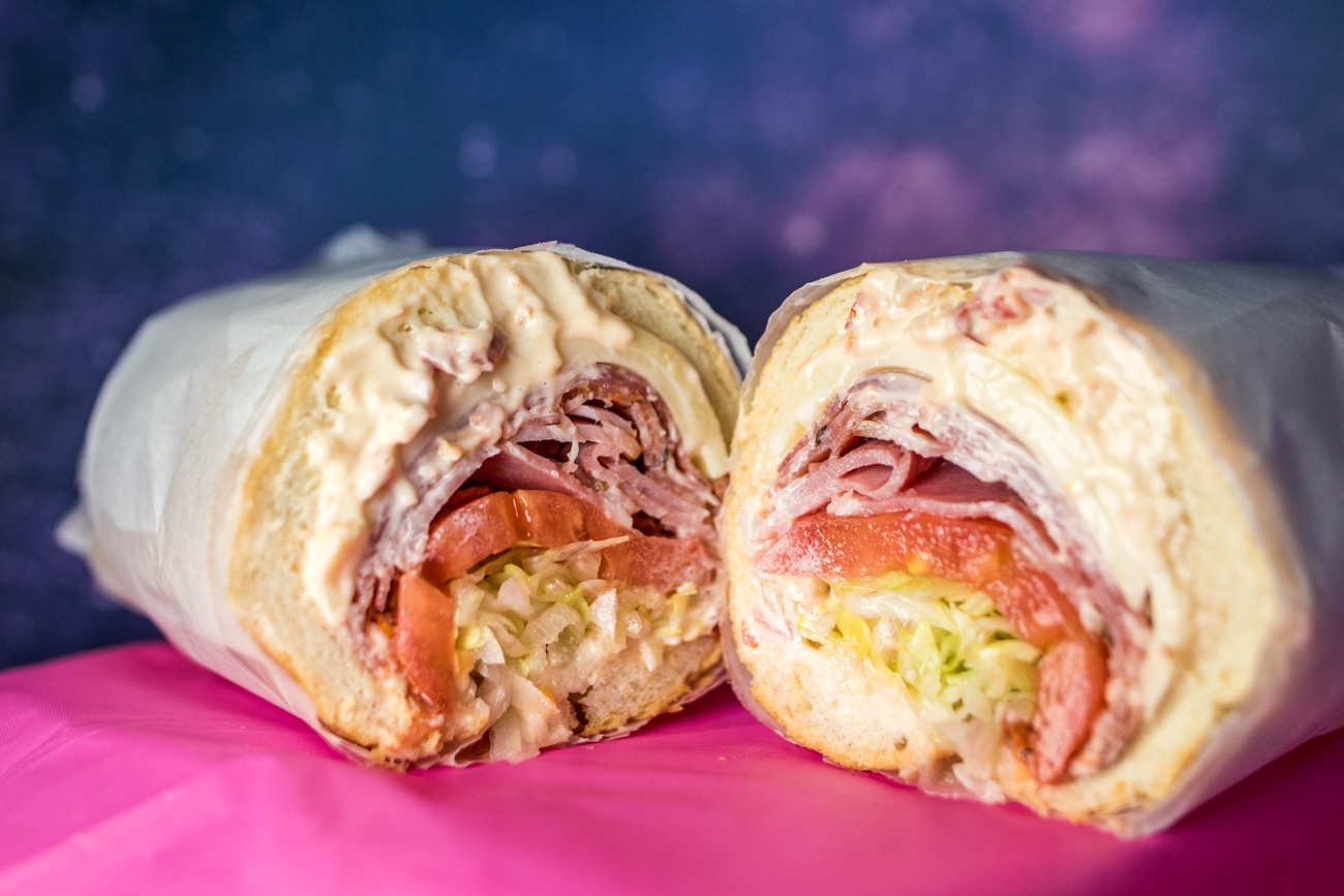 The Bing: prosciutto cotto, salami, and capicola with lettuce, onion, Italian vinaigrette, and pickled pepper mayo on a sub roll /  Image: Catherine Viox{ }// Published: 11.13.20