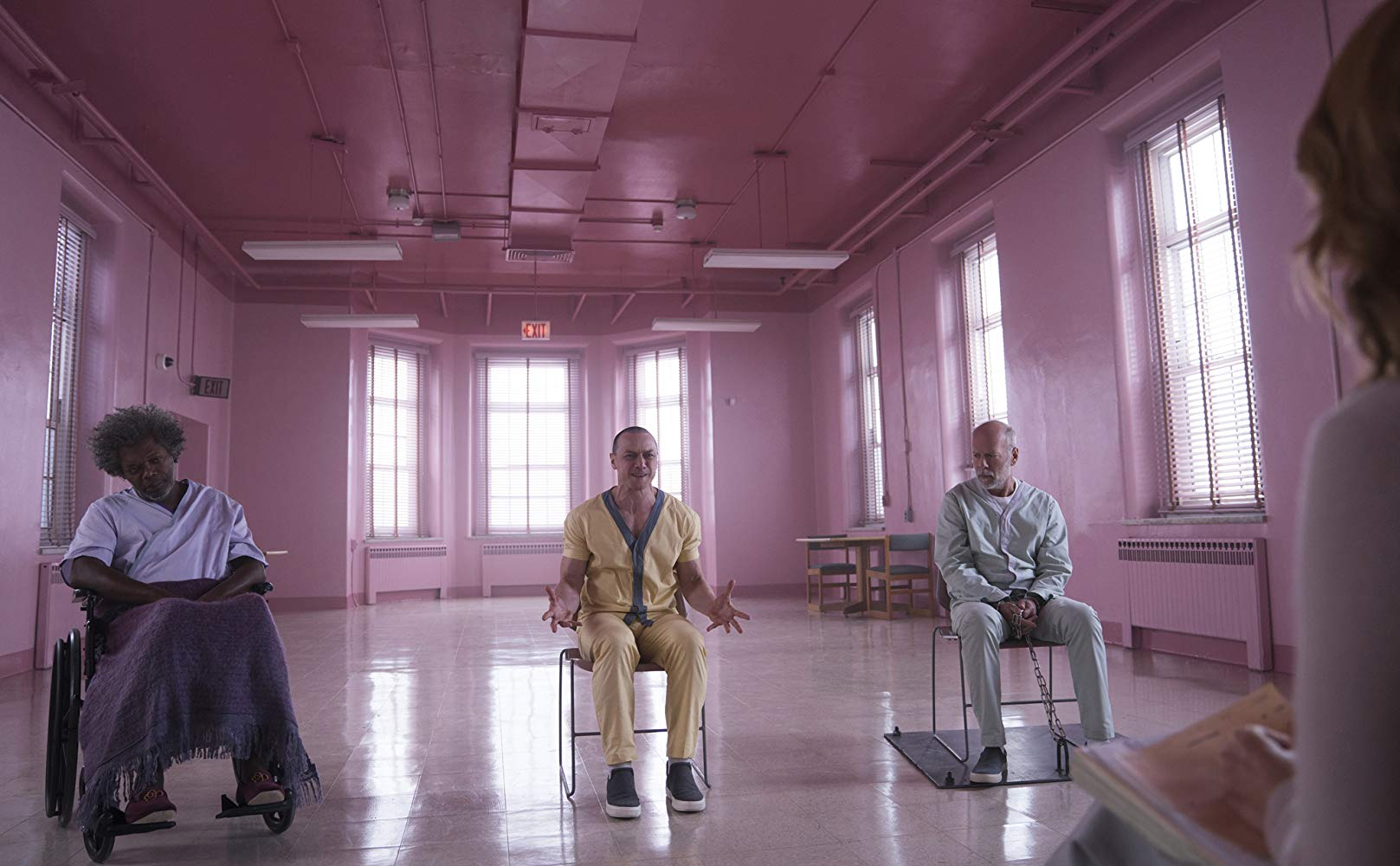 Samuel L. Jackson, Bruce Willis, Sarah Paulson, and James McAvoy in Glass (2019)