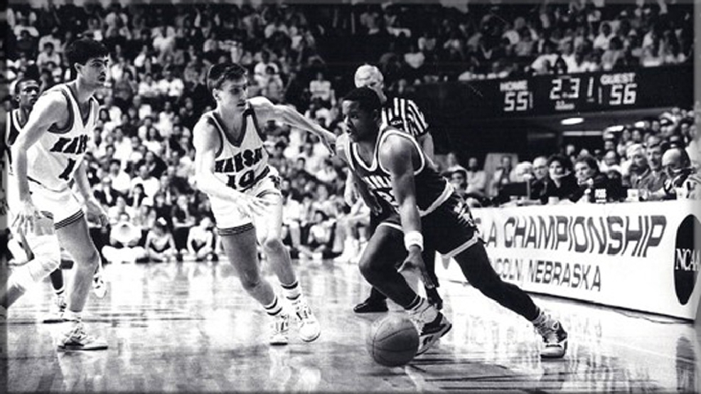 Don Mann drives against Kansas late in Murray State's second-round NCAA Tournament loss to eventual national champion Kansas on March 20, 1988, in Lincoln, Neb. Mann helped the Racers to an upset of No. 3-seeded N.C. State in the first round. (Courtesy Murray State Hall of Fame)