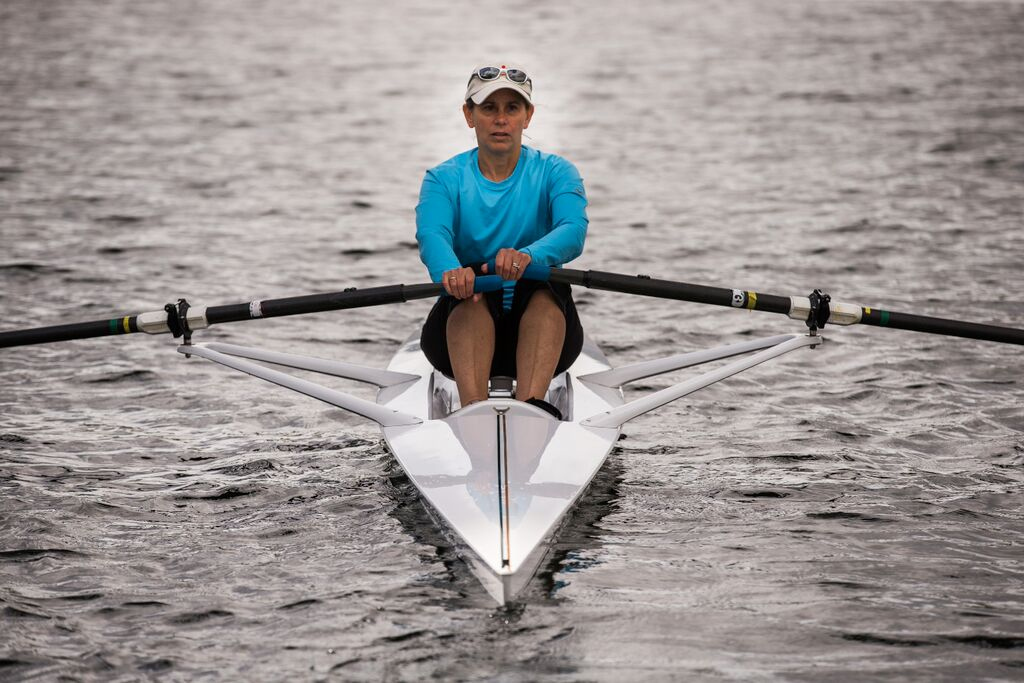 Meri-Jo Borzilleri gets a rowing lesson from former Olympic rower Ginny Gilder at the Pocock Rowing Center in Seattle Wednesday, June 3, 2015. (Courtesy Meri-Jo Borzilleri)