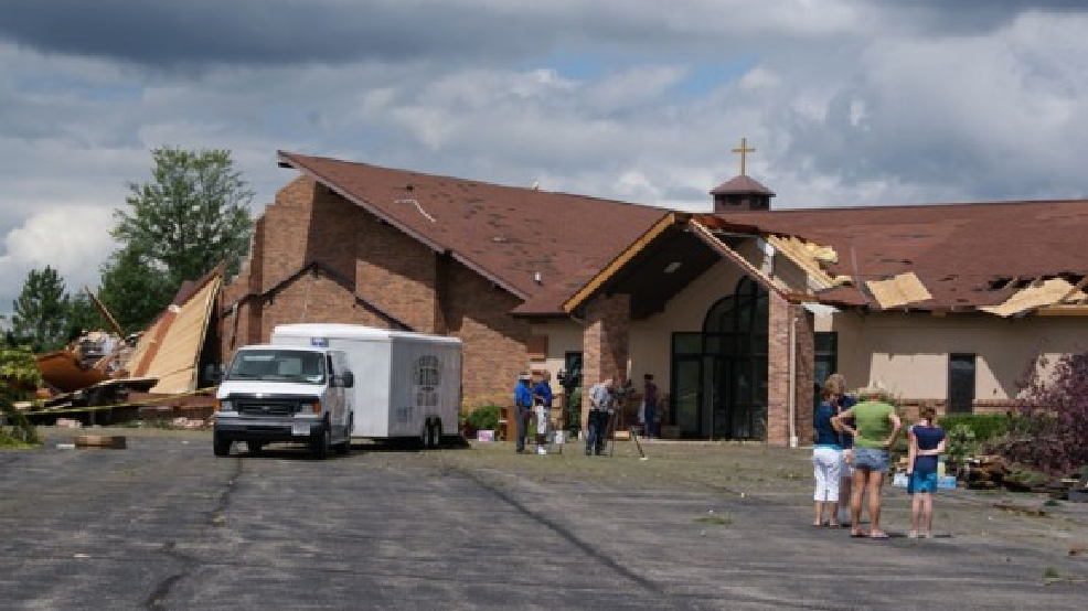 Trinity Lutheran Church in New London is damaged by a tornado, Aug. 7, 2013. (Submitted by Julie Squires)